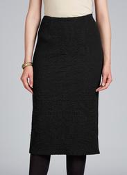 Жаккардовая юбка черного цвета с объемным узором и завышенной талией MS 309/1