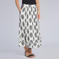 Длинная юбка кремового цвета из вискозы со штампованным принтом MS 257