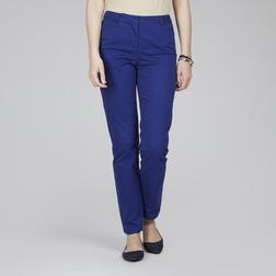 Стрейчевые брюки глубоководного синего цвета из натурального хлопка TR 142