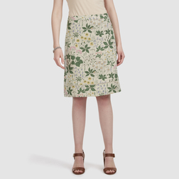 Льняная А-образная юбка темно-бежевого цвета с принтом полевых цветов MS 424
