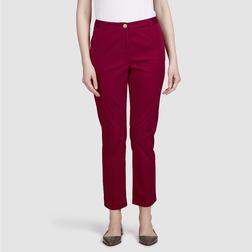 Хлопковые брюки чинос насыщенного красного цвета TR 165