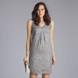 Льняное платье серого цвета с цветочным принтом MD 210