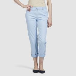 Укороченные стрейчевые брюки голубого цвета TR 025