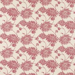 Красивые обои с цветочным рисунком красного цвета на однотонном фоне  KIMONO (Cranberry/Linen)