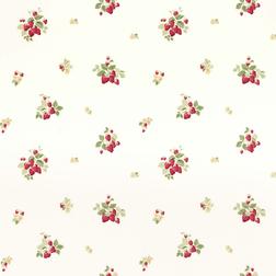 Бумажные обои с красивым рысунков клубничных гроздьев STRAWBERRIES (Cranberry)