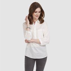 Легкая полупрозрачная блузка из хлопка кремового цвета BL 964