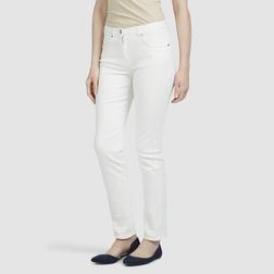Зауженные брюки из хлопка белого цвета с завышенной талией TR 199