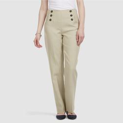 Льняные брюки бежевого цвета со стрелками и высокой талией TR 200