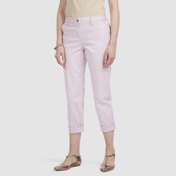 Укороченные стрейчевые брюки нежно-розового цвета TR 025