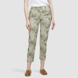 Стильные укороченные брюки слимы из микса льна и вискозы TR 212