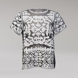 Оригинальная футболка  черного цвета с эксклюзивным принтом белого цвета TS 475