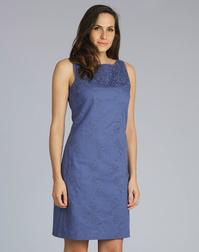Оригинальное платье синего цвета из льна и хлопка MD 234