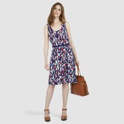 Легкое платье темно-синего цвета с красивым принтом MD 990