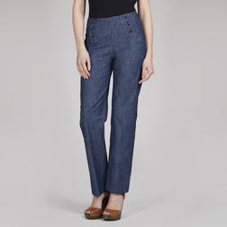Стильные брюки синего цвета с завышенной талией TR 136