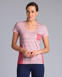 Красивая футболка розовыми полосами и цветочным принтом TS 953