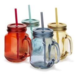 Набор цветных банок для напитков MASON JARS WITH STRAWS SET OF 4 10,5*8*13,5 (Multi)