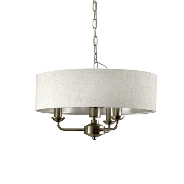 Люстра на 3 лампочки из металла бронзового цвета с большим абажуром SORRENTO 3ARM 45*25