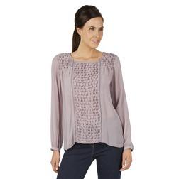Шелковая блузка лилового цвета с фигурными буфами BL 656