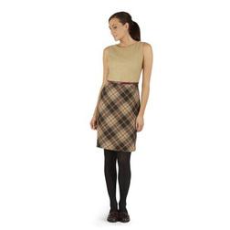 Приталенное платье бежевого цвета с косой клеткой от пояса MD 046