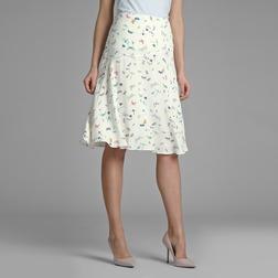 Легкая юбка кремового цвета с узором в бабочки и стрекозы MS 207