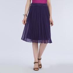 Плиссированная юбка фиолетового цвета на подкладке MS 313