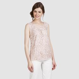 Кружевная блуза без рукава пастельного розового цвета BL 961
