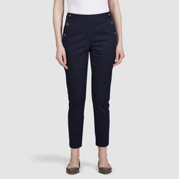 Зауженные брюки из хлопка темно-синего цвета с пуговицами по бокам TR 138