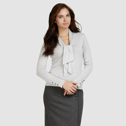 Красивый пуловер светло-серого цвета с шалевыми завязками JP 674
