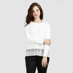 Красивая футболка с длинным рукавом  кремового цвета TS 802