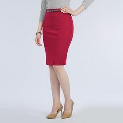 Текстурная юбка карандаш бордового цвета MS 319