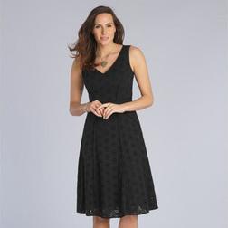 Платье черного цвета из хлопка на подкладке с глубоким вырезом MD 288