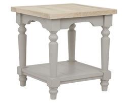 Маленькая тумбочка светло-серого цвета с полкой внизу DORSET SIDE TABLE 49*45*45 (Pale French Grey)