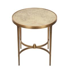Круглый столик с нанесенной картой мира DRAKE SIDE TABLE 53*50 (Antique Brass)