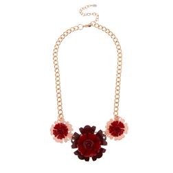 Роскошное ожерелье  на толстой цепочке с украшением из трех цветков JW 512