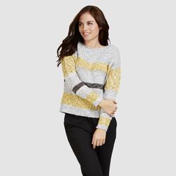 Стильный пуловер серого цвета в контрастную полоску JP 676