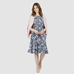 Красивое платье темно-синего цвета с цветочным принтом MD 493