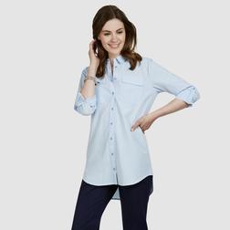 Туника - рубашка с рукавом 3/4,  голубого цвета TU 323