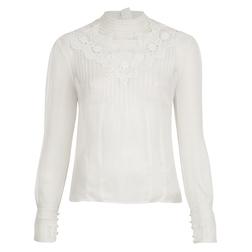 Невероятно красивая блузка оригинального кроя цвета слоновой кости из 100% шелка BL 119
