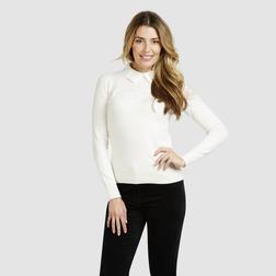 Нарядный пуловер кремового цвета с кружевным воротничком JP 678