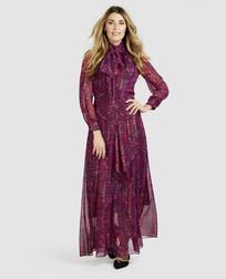 Элегантное платье темно-фиолетового цвета с этническим принтом MD 631