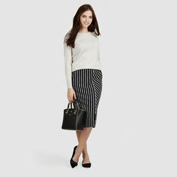 Черная юбка в полоску бежевого цвета MS 599