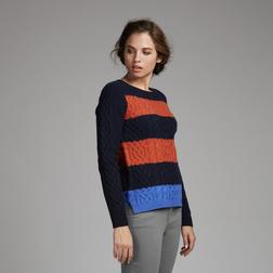 Пуловер темно-синего цвета с полосами голубого и коньячного цвета JP 189