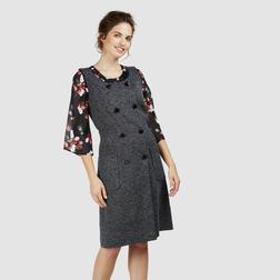 Красивое платье-сарафан сине-бежевого цвета MD 703