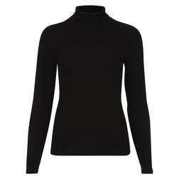 Классический теплый свитер черного цвета с высоким, отворотным горлом  TS 815