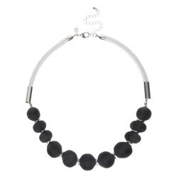 Стильное ожерелье с черными фактурными бусинами JW 516