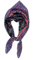 Шелковый платок синего цвета с принтом в оранжево-голубых тонах SH 475
