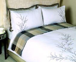 Большой набор постели с вышивкой PUSSY WILLOW EMB KG 220*230, 50*75 set of-2 (Dove Grey)