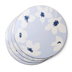 Набор круглых подставок под посуду с цветочным рисунком SIMONE SET OF 4  PLACEMATS Ø24 (Blue)