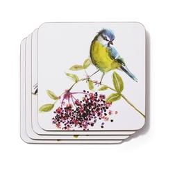 Набор подставок под чашку с рисунком цветных птичек BRITISH BIRDS SET OF 4  COASTERS 10,5*10,5 (Mult