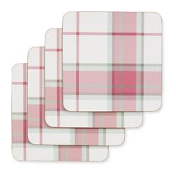 Набор подставок под чашку в малиновую клетку KINROSS SET OF 4 COASTERS 11*11 (Red)